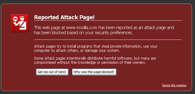 Figure 3: Attack Page Warning